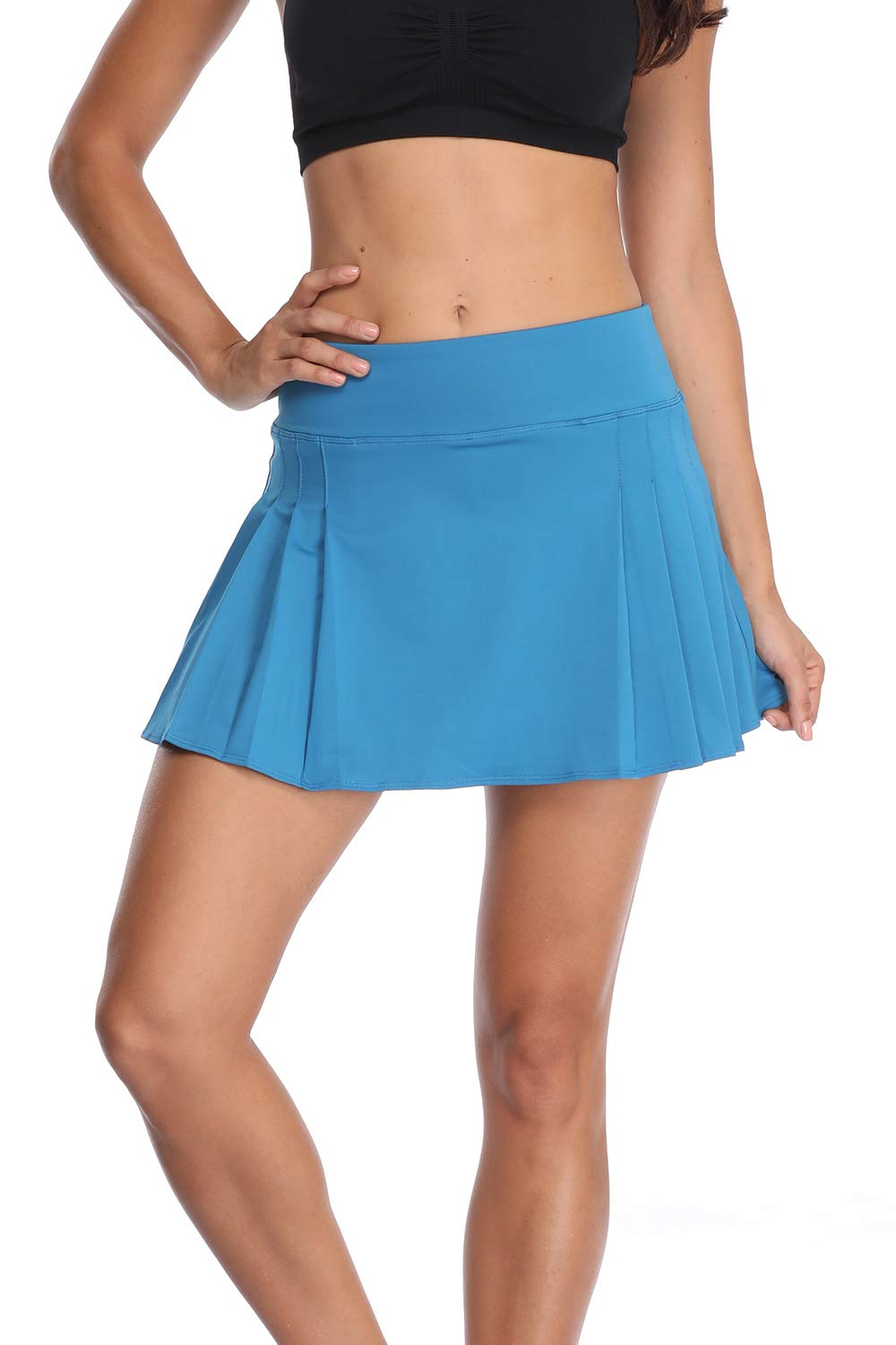 32e-SANERYI Women's Pleated Elastic Quick-Drying Tennis Skirt with Shorts Running Skort-13M Blue by 32e-SANERYI
