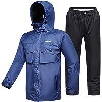 ILM - Traje de lluvia para motocicleta, resistente al desgaste, 6 bolsillos, 2 piezas, con chamarra y pantalones