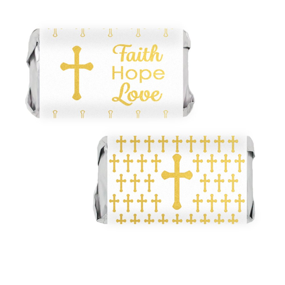 Baptism, Christening, First Communion Party Favors - Cross Mini Candy Bar Wrapper Stickers (54 Count)