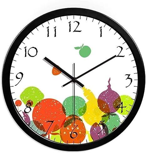 PLH Reloj Jardín de Infantes Tienda de Frutas Verduras Shop Baby Room Balcón Aula Reloj de Pared Circular del Reloj de Pared 25-35CM Decorar (Color, Negro, Tamaño 25 * 25 cm) Reloj: