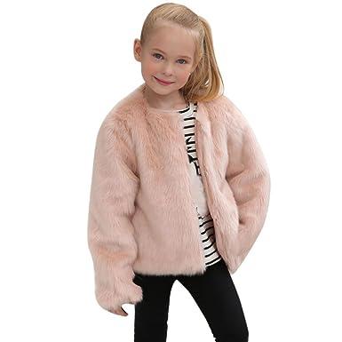 338496516b31 Anglewolf Kids Baby Girls Autumn Winter Fashion Solid Faux Fur Coat ...