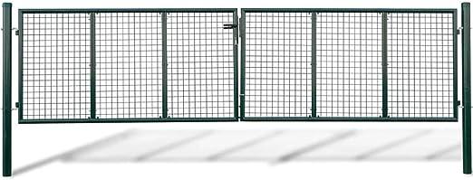 vidaXL Acero Verja Mallada Puerta Barrera Exterior Cercas para Jardín, 415 x 125 cm: Amazon.es: Jardín