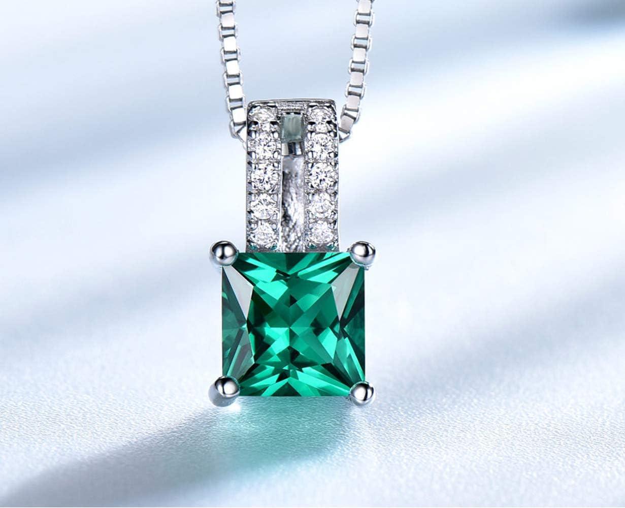 SHIJING Pura 925 de Plata esterlina para Las Mujeres Verde Esmeralda de Corte Princesa del Encanto Pendiente de la Boda joyería Fina sin la Cadena,1