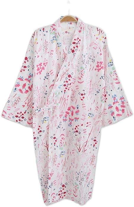YTFOPLK Batas De Kimono Frescas Florales De Verano para Mujer Manga Larga Camisón Gasa Algodón Kimono