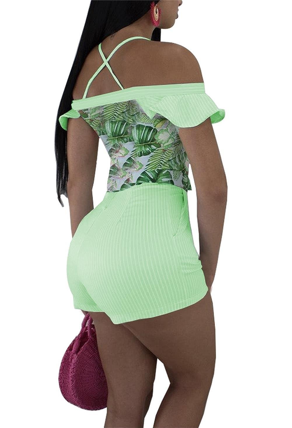 Symina Womens Summer Floral Print Off Shoulder Straps Romper Jumpsuit Playsuit