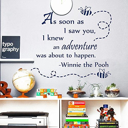 Monitor Winnie Pooh Baby The (Wall Decals Quotes Winnie The Pooh As Soon As I Saw You Quote Vinyl Sticker Nursery Room Bedroom Decal Baby Boy Girl Home Decor Art Murals MR341)