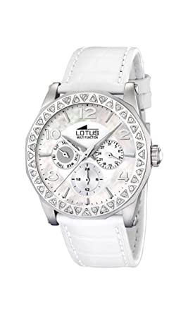 Lotus Womens Cool L15684/1 White Leather Quartz Watch with White Dial