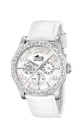 Lotus 15684/1 - Reloj de mujer de cuarzo, correa de piel color blanco
