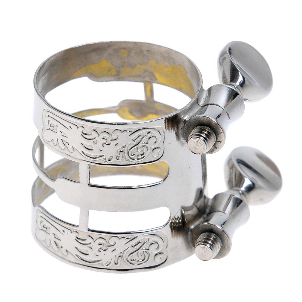 Kmise New Silver Carving Ligature for Alto Saxophone Ligature