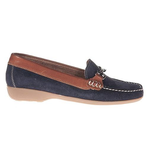 Castellanisimos Mocasin Piel Serraje Mujer Azul Marino - Color - NEGRO, Tallas - 41: Amazon.es: Zapatos y complementos