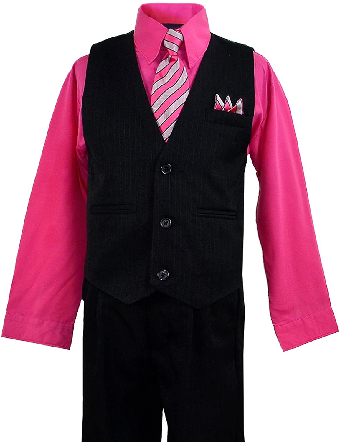Amazon.com: Boys Black Pinstripe Vest Suit with Pink Fuchsia Shirt ...