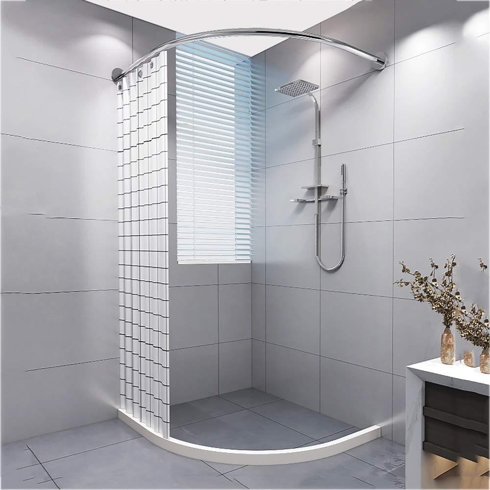 DCAH シャワーカーテンロッド、パンチフリー曲線バスロッド浴室磁気シャワーカーテンウォーターストリップセット Curtain rod (色 : A-95*95cm)  A-95*95cm B07QR3GH86