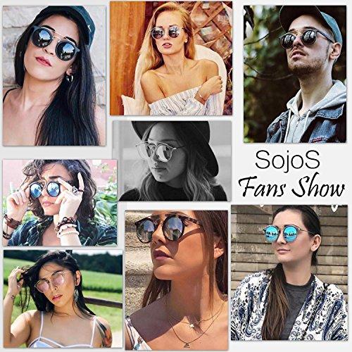 SojoS Classic Mens Womens Double Metal Bridge Round Sunglasses SJ2024 With Black Frame/Blue Mirror Lens