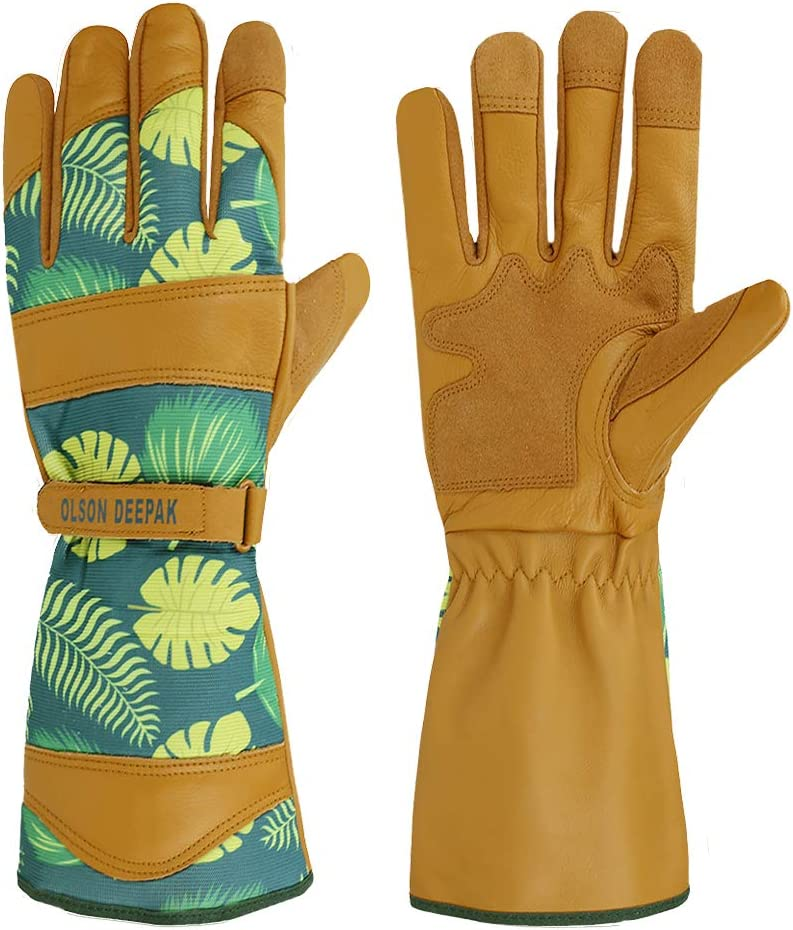 OLSON DEEPAK Womens Gardening Gloves with Grain Leather for Yard Work, Rose Pruning and Daily Work perfect fitting for women, Long Cuff Rose Garden Gloves with Fashion palm leaf pattern (Long-cuffs)
