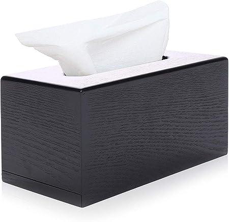 xmwm Caja de pañuelos-Caja de pañuelos de Madera Negra con Tapa de Caja de pañuelos faciales: Amazon.es: Hogar