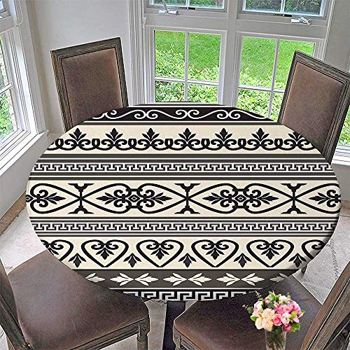 Mikihome Round Premium Tablecloth Ancient Leaves Hearts Borders Roman Florals Ivy Theme Artwork Image Taupe Black Tan Stain Resistant 63