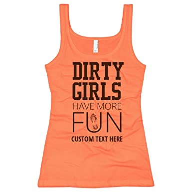af03569bac Amazon.com: Custom Dirty Girls Neon Mud Run: Slim Fit Next Level Neon Tank  Top: Clothing