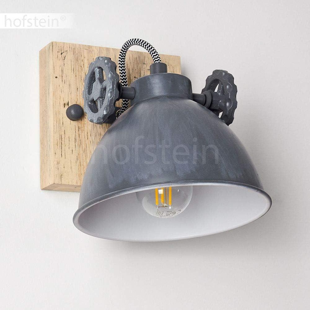 compatible ampoules LED pour 1 ampoule E14 max 40 Watt id/éal dans un salon vintage spot mural pivotant de style r/étro-industriel Applique Svanfolk en bois et m/étal gris patin/é