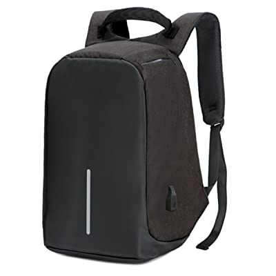 JSBKY Business Resistant Polyester Laptop Backpack With USB Charging Port Laptop And Notebook Waterproof (15 inch, black)