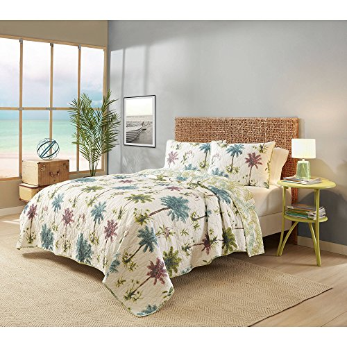 N2 3 Piece Ivory Pink Purple Green Palms Quilt King Set, Island Themed Bedding Flamingos Birds Trees Botanical Plants Hawaii Coastal Beach Hawaiian Pattern Colorful Tropics, Cotton by N2