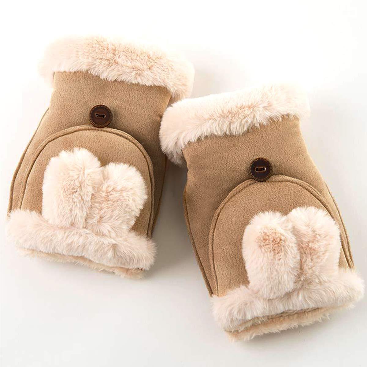 Sherry Kids Boys Girls Flip Half Finger Gloves Winter Warm Wool Knit Mitten Convertible Fingerless Gloves