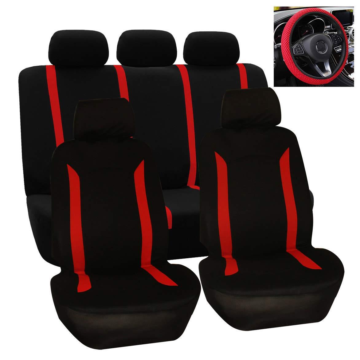 Semoic Protezione Universale per Seggiolino Auto Lavabile 10 Pezzi//Set con Coprivolante Nero Rosso