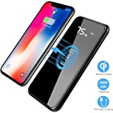 Qi Wireless Portable Charger, Hokonui 10000mAh Charging Power Bank with LED Digital Display External Battery Pack 2 in 1 for iPhone X, iPhone 8, 8 Plus, iPad, Samsung Galaxy S8, S8 Plus (Black)
