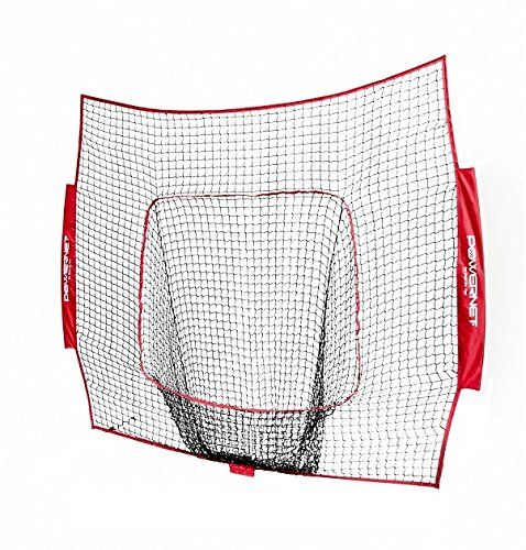 PowerNet Team Color Nets Baseball and Softball 7x7 Bow Style (NET ONLY) Replacement | Red | Heavy Duty Knotless | Durable PU Coated Polyester | Double Stitched Seams for Extra Strength (RED)
