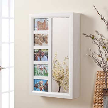 Mirror Hanging Jewelry Box Picture Frame Holder Wall Mounted Storage