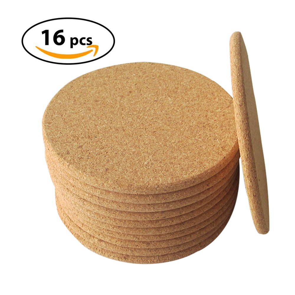 "cozy.room Natural Cork Coasters with Round Edge 4"" 16pc - 1/5"" Thick, Absorbent, Eco-Friendly, Heat-Resistant, Reusable Saucers for Cold Drinks, Wine Glasses, Cups & Mugs"