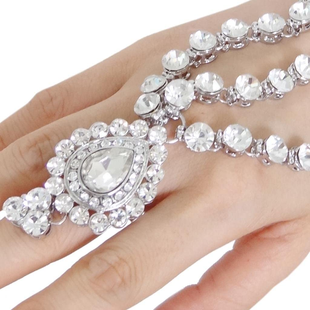 Ever Faith Silver-Tone Bridal Teardrop Adjustable Ring Bracelet Set Clear Austrian Crystal N02331-1