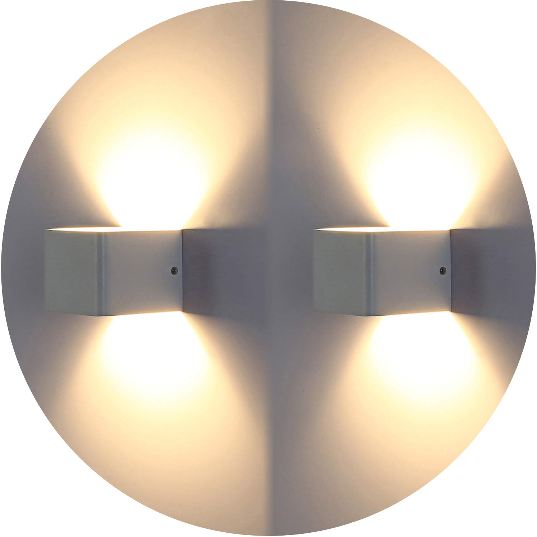 Topmo-plus 2er Pack 7W LED Wandleuchten Wandlampen hochwertige Aluminum Flurlampe Up und Down Design 3000K Warmweiß 770LM (weiß) [Energieklasse A+] LEDB1107