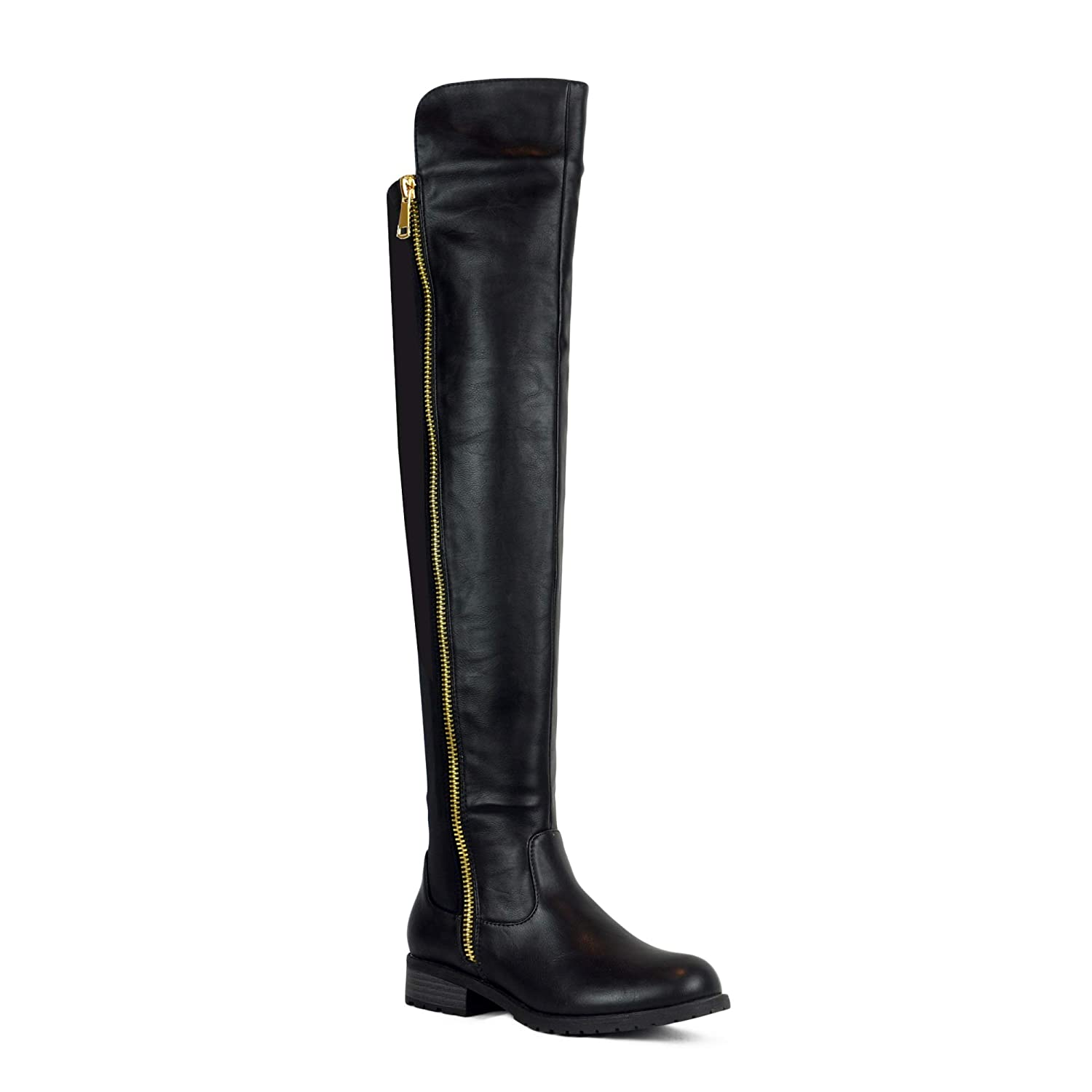 19351aeb8af1 Amazon.com  WEST COAST Low Heel Over The Knee Boots Women s Stretch Back  Side Zipper Long Boots  Shoes