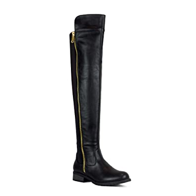 f84477285a3 WestCoast Low Heel Over The Knee Boots Women s Stretch Back Side Zipper  Long Boots Black 5.5