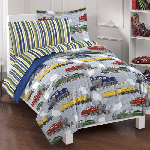 Fantastic Deal! Dream Factory Trains Ultra Soft Microfiber Boys Comforter Set, Blue, Twin
