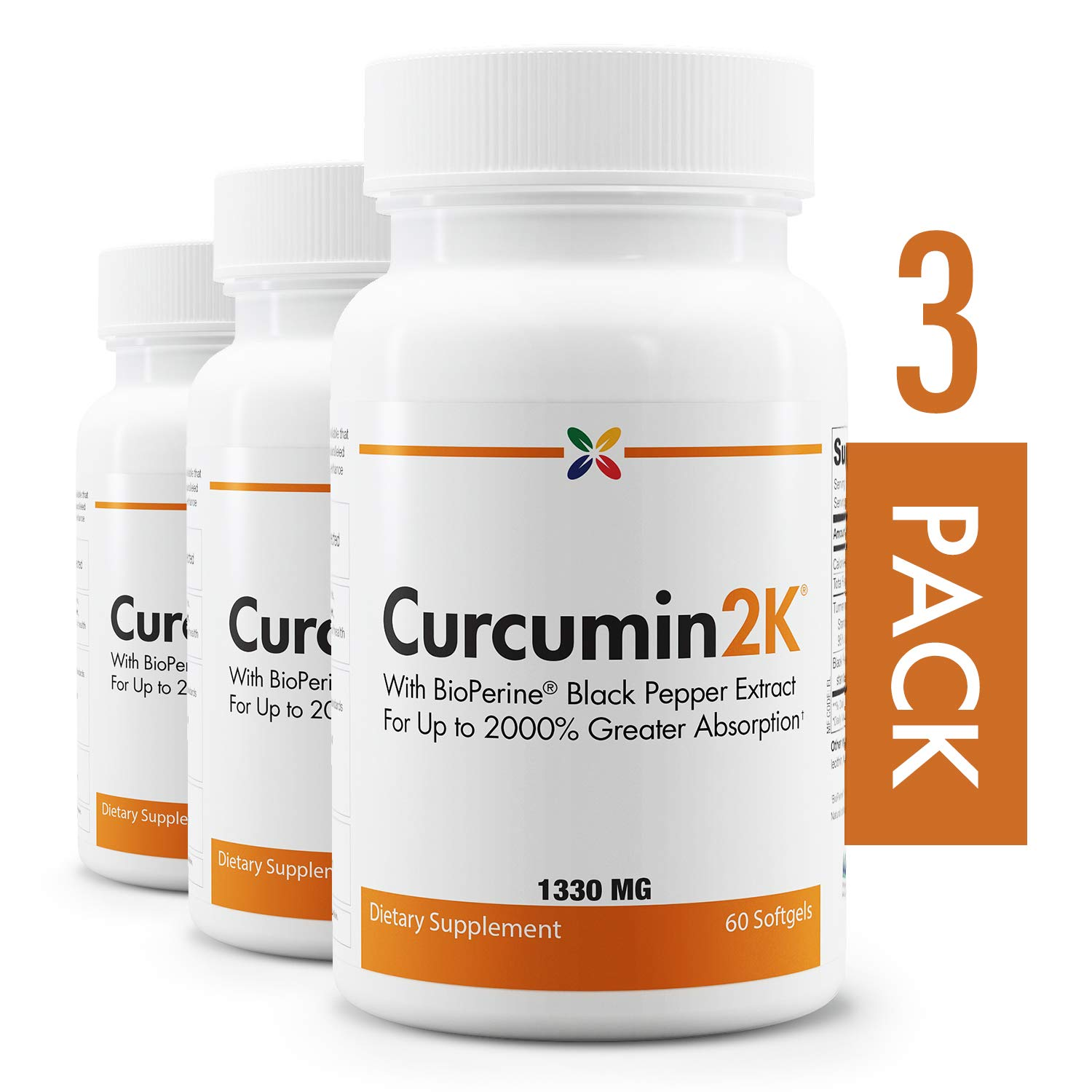 3-Bottle Pack - Curcumin2K Formula with BioPerine Black Pepper Extract for Up to 2000% Greater Absorption - Stop Aging Now - 60 Veggie Caps