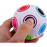 QHJ Prime 2017 Pop Rainbow Magic Ball Kunststoff Würfel Twist Puzzle Spielzeug für Kinder pädagogischen Spielzeug Teenager Adult Stress Reliever (Rainbow)