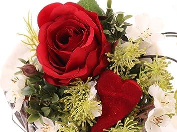 Bouquet De Fleurs De Soie Rose Rouge Et Fleurs De Cerisier