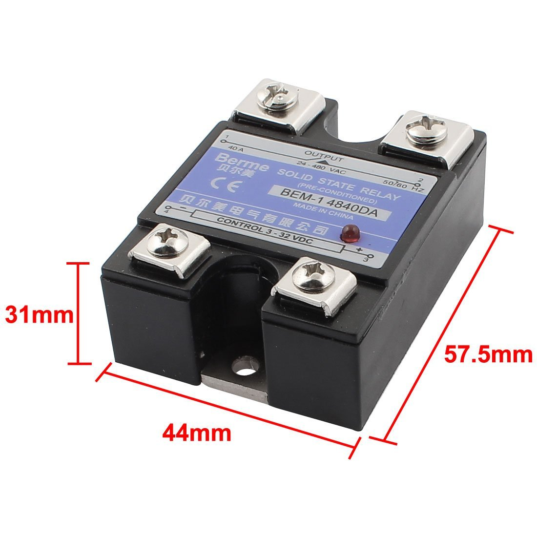 DealMux Solid State Relay Module, BEM-1 4840DA DC-AC 40A 3-32VDC / 24-480VAC