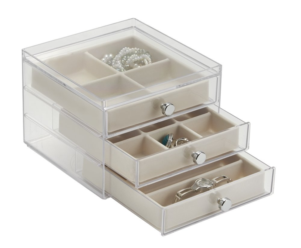 mDesign Elegant Plastic Jewellery Box with Drawers Pretty Acrylic Jewellery Organiser with Drawers Ideal Jewellery Storage with Drawers and Compartments Clear//Ivory