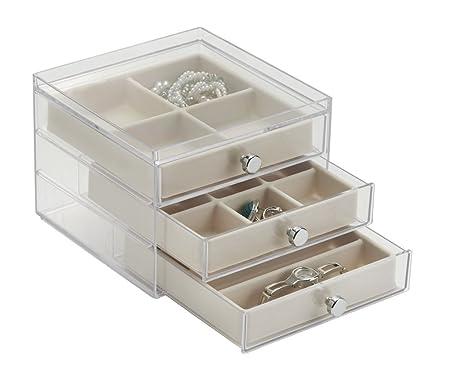 mDesign Organizador con cajones – Ideal joyero organizador para pendientes, anillos, broches, etc. – Si está buscando cómo organizar bisutería este es ...