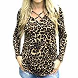 Echou Womens Sweater Sexy Leopard Long Sleeve Casual Pullover Loose Tops Ladies Casual Blouse (L)