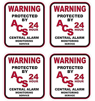 """4-Pc Imposing Unique Warning Protected 24 Hour Central Alarm Monitoring Service Monitor Security Stickers Sign Car Camera Business Fence Property Signs Under Cameras Protect Trespassing Size 3""""x3.3"""""""