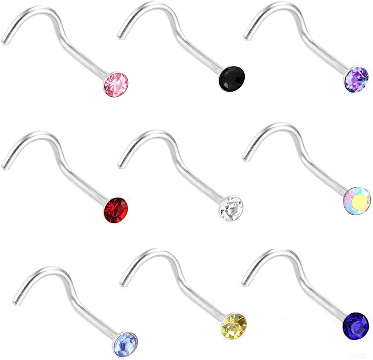 22G 60 Pcs Stainless Steel Nose Studs Rings Piercing Pin Body Jewelry 2.5mm 2.0mm 1.5mm