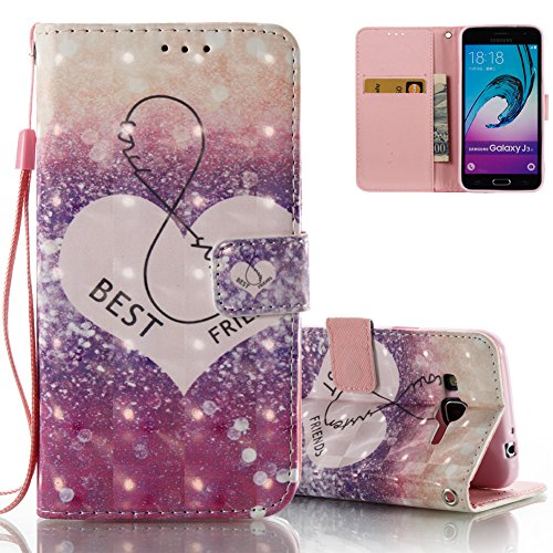 Flip Wallet Case for Samsung J3 2016 Covers Aeeque Ultra Slim Fit Shockproof Covers PU Leather Phone Cases Protective Cover with Stand for Samsung Galaxy J3 2016 J320F J3109 J320Y, Purple Love