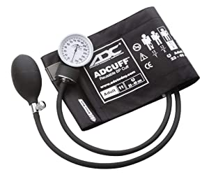 ADC 760-11ABK Prosphyg 760 Pocket Aneroid Sphygmomanometer with Adcuff Nylon Blood Pressure Cuff, Adult, Black