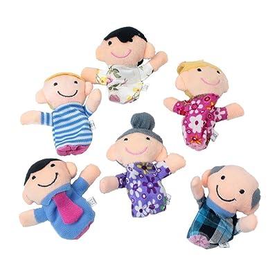 sungpunet 6 piezas Happy miembro de la familia juego de marionetas de dedo, y niños en edad preescolar de favoritos: Hogar