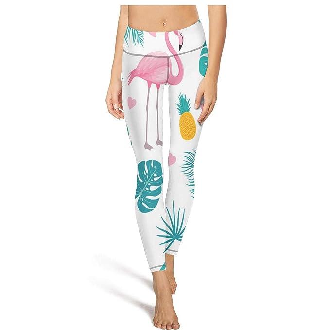 Amazon.com: Leggings largos para correr con flamencos, piña ...