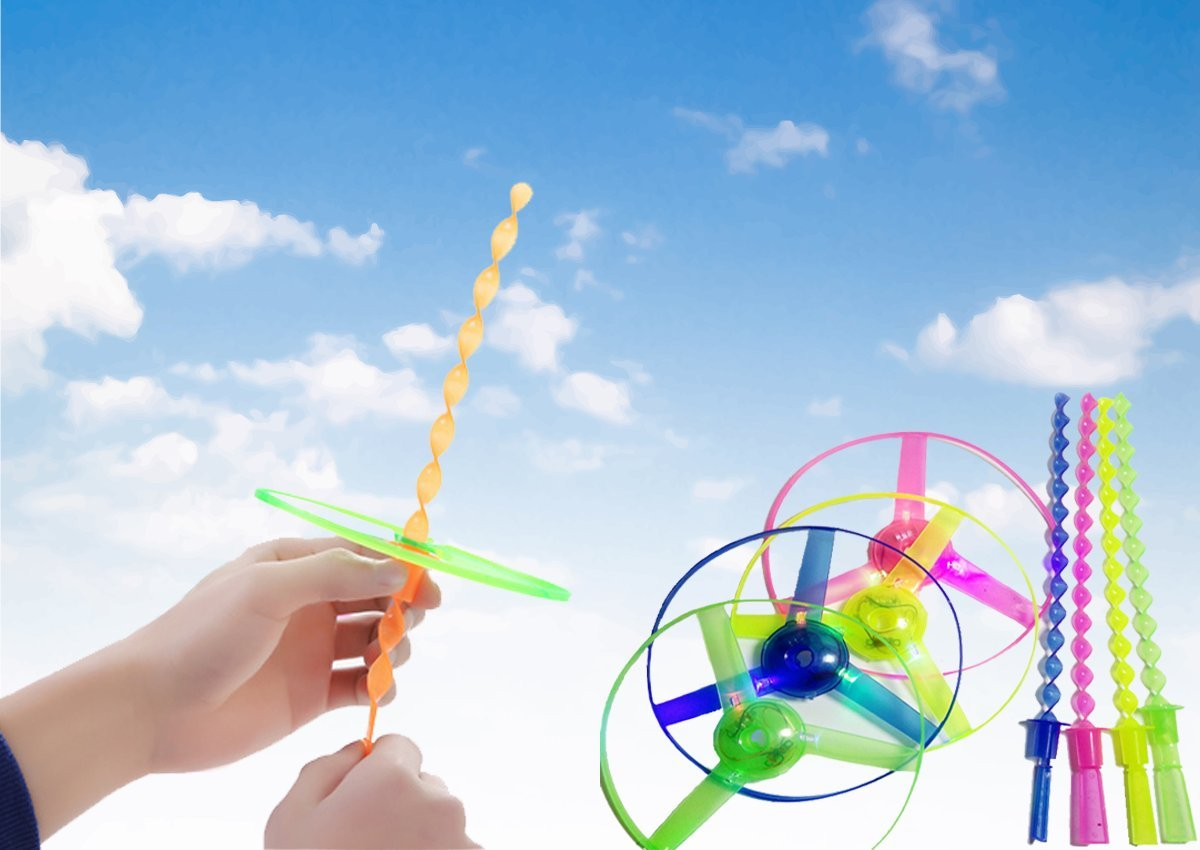 Children Toy Kids Gift Flying Saucer Toy 4 pcs LED Frisbee Light Up Twisty Flying UFO Helicopter Toys Manual Spin Toy Boomerangs for Outdoor/Holiday/Picnic/Travel/Leisure/Sport(Green&yellow&blue&red) by DISC