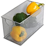 Ybm Home Mesh Storage Box, Silver Mesh Great for School Home or Office Supplies, Books , Computer Discs and More 2302 (1, Zip Box- 8 X 4.5 X 4.8 Inches) by Ybmhome